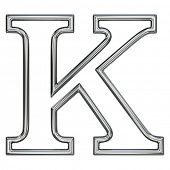 alphabet symbol K with chrome pipe outline
