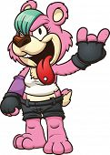 Punk cartoon bear. Vector clip art illustration with simple gradients. All in a single layer.