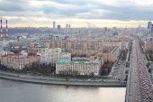 Kutuzovsky prospect, Moskva river and Novoarbatsky bridge in evening in Moscow, Russia.