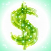 Green Money Symbol With Transparency And Lights