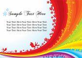 Vintage rainbow invitation  template design with birds