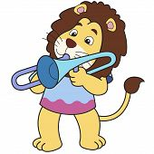 Cartoon Lion Playing A Trombone