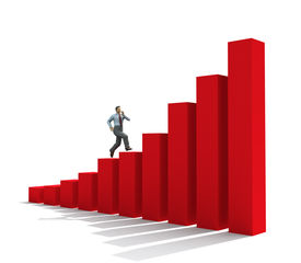 foto of step-up  - man moving up on graph chart business growth success finances diagram improvement - JPG
