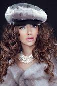 Beauty Fashion Model Woman In Mink Fur Coat. Winter Girl In Luxury Fur Hat And Diamond Jewelry Neckl