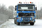 Blue Volvo F16 Truck In Snowfall