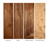 real wood samples of Goncalo, Cristobal,Rosewood and Pear