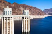 Intake Towers And Lake Mead