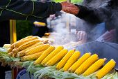 Street Vendor Selling Hot Sweet Corn