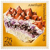 Stamp Printed In German Democratic Republic (east Germany) Shows Semiprecious Stone Amethyst