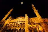 Exterior Of Hagia Sophia Mosque At Night With Full Moon