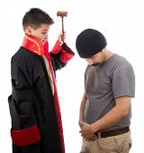 Child judge punishing criminal man with judge mallet isolated on white background