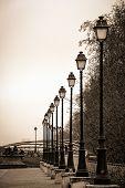 Row of streetlamps in Paris