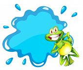 Illustration of a smiling frog beside the blue empty template on a white background