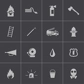 stock photo of fire brigade  - Vector black  firefighter icons set on gray background - JPG