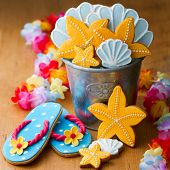 Cookies with a summer beach theme