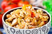 foto of brest  - Vegetable ragout with chicken brests in a bowl - JPG
