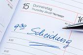 a date is entered on a calendar: divorce