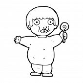 pic of obesity children  - cartoon fat child - JPG