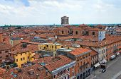 Panoramic view of Ferrara. Emilia Romagna. Italy.