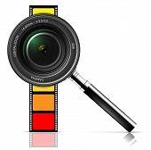 Película y la lente de la cámara