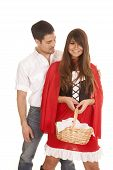 Man And Red Riding Hood Smiling Basket