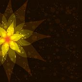 stock photo of day-lilies  - Floral abstract dark background with golden flower lily and decorative pattern - JPG