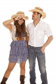 Western Couple With Cowboy Hats
