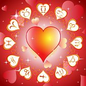 Horoscope circle with hearts