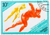Stamps Printed In The Ussr, Shows Sport, Skating, Skater In The Xiv Olympic Winter Games In Sarajevo