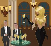 pic of flirt  - Lady with a glass of champagne is flirting with men at the party - JPG