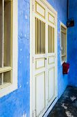Blue Painted Shophouse Facade