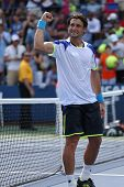 Professional tennis player David Ferrer after his win third round match at US Open 2013