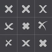 Vector black rejected icons set
