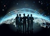foto of international trade  - Business team in silhouette with globe in the background with network or flight paths - JPG