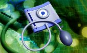 foto of sphygmomanometer  - Digital illustration of sphygmomanometer in coloured background - JPG