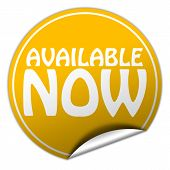Available Now Round Yellow Sticker On White Background