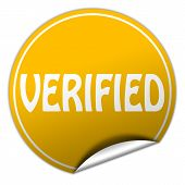 Verified Round Yellow Sticker On White Background