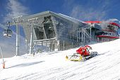 Modern Cableway And Groomer In Ski Resort Jasna, Slovakia