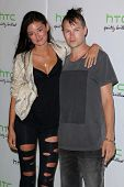 Caroline D'Amore and fiance at the HTC Status Social, Paramount Studios, Hollywood, CA. 07-19-11