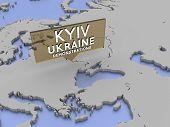 Kiev, Ukraine - demonstrations picker on a map