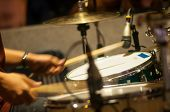 stock photo of drum-set  - Drum set with focus on hi - JPG