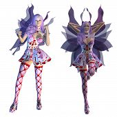 stock photo of faerie  - Digitally rendered illustration of a valentine fairy with violet hair on white background - JPG