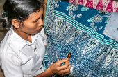 Woman Making Batik
