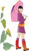 Girl with umbrella at autumn