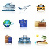 Travel Icons: Cruise, Ship, Plane, Hotel