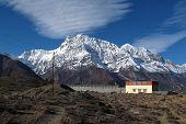 Snow capped Annapurna Range and monastry