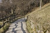 Mountain Footpath With Wooden Fence