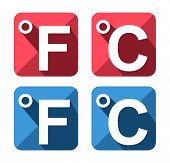 Celsius And Fahrenheit Symbol Icon Set