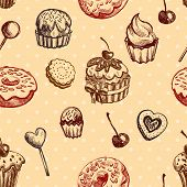 Seamless texture sweets, donut, biscuit on background polka dots