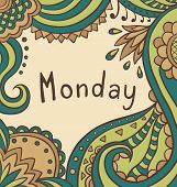 Text Monday On Ornamental Vintage Background.